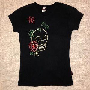 Emily the strange tshirt skull floral 2006 xs